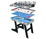 HLC Mesa Multijuegos Plegable 4 en 1 Mesa de Billar,Ping Pong,Hockey y Futbolín (109...