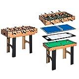 HOMCOM Mesa Multijuegos 4 en 1 Incluye Futbolín Air Hockey Ping-Pong y Billar -...