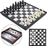 Ajedrez Juego,Juego de Mesa Clásico,3 in 1 Ajedrez y Damas,Backgammon para niños y...