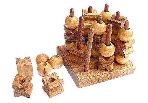 Logica Juegos Art. Tic-TAC-Toe 3D - Juego De Mesa De Madera Preciosa - Juego...