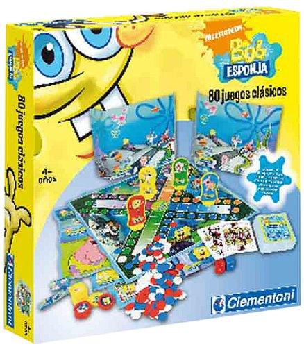 Clementoni - Juego de Tablero de Bob Esponja, 80 Juegos clásicos (17-65251)